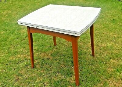 Vintage Mid Century Formica Drawleaf Extending Kitchen Table Silver Gingham