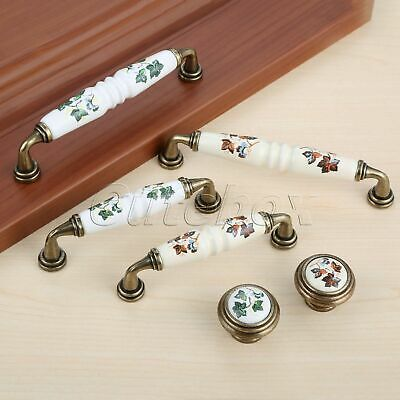 Cabinet Knob Drawer Door Pull Handle Vintage Floral White Porcelain Cupboard