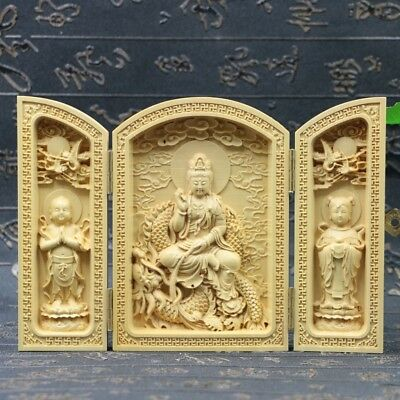 Chinese Boxwood Handmade Carved Three Saints Open Box      E860