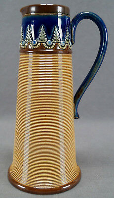 Doulton Lambeth Olive Dale Blue Green & Brown Fern & Ribbed Stoneware Jug