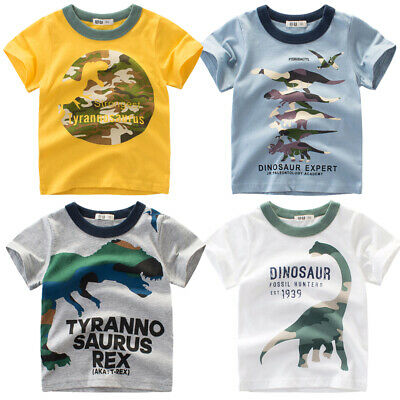 Toddler Kids Summer Dinosaur T-shirts Baby Boys Short Sleeve Cotton Tops Tee 1-8