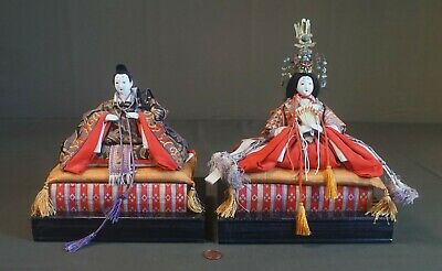 Fine Japanese Meiji Period Emperor & Empress Dolls on Stand