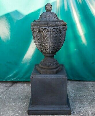 Outdoor Garden Patio Balmoral Planter Pot Urn Vilanty Pedestal Charcoal Black