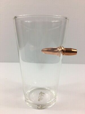 Lucky Shot Bullet stuck in Beer Glass Pint 16 OZ Drinking Glass Cup