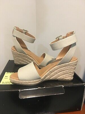 eb5f0d3534b J CREW FACTORY Strappy Canvas Espadrille Wedges, Size 7.5 Medium