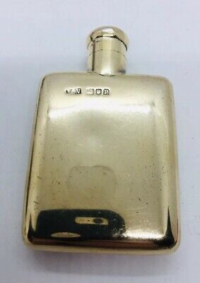 JC Vickery Antique English Sterling Silver Gold Vermeil Regent St Pocket Flask