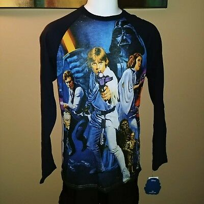Star Wars Cast Luke Leia Chewy C3P0 Blue Sleeve Large Lg Womens Top Shirt Nwt