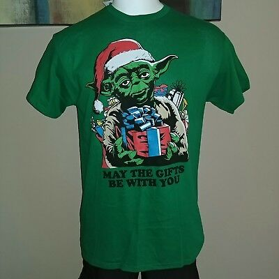 Yoda Star Wars Green Gifts Be With You Xmas Christmas Large Lg Top T Shirt New