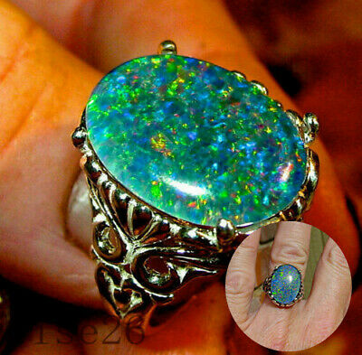 925 Silver Ring White Fire Opal Moon Stone Wedding Engagement Woman Sz 6-10