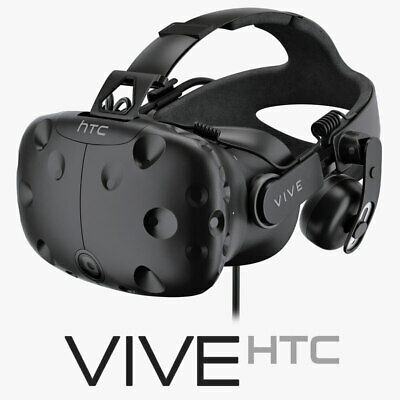 HTC Vive headset with Deluxe Audio Strap, linkbox and accessories