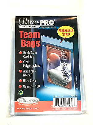 100 Ultra pro Equipo Set Bolsas Resellables Tira Carta Béisbol UV 1 Pack-New