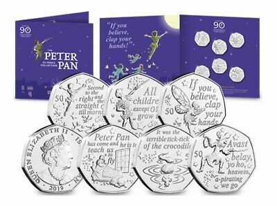2019 PETER PAN 50p 6 COIN COMPLETE SET 90th ANNIVERSARY  READY TO DISPATCH