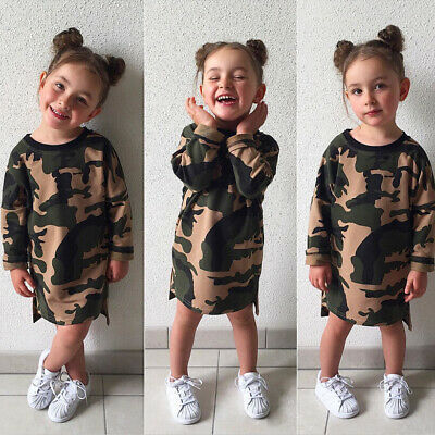 Toddler Girls Kids Cotton Party Camouflage Dress Casual Long Sleeve Tops Skirt