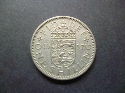 1957 English Shilling Coin, In Good Used Condition, Copper Nickel. 1957 Shilling