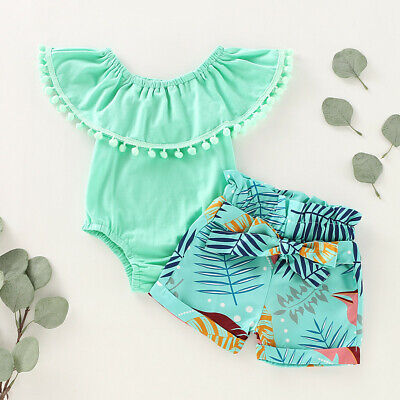 Newborn Infant Baby Girl Clothes Ruffle Romper Floral Shorts Summer Outfits Set