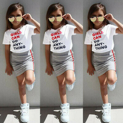 Toddler Baby Girls Short Sleeve Letter T-shirt Tops+Solid Striped Skirts Outfits