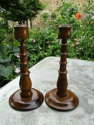 Fab Pair of Vintage Antique Hand-Turned Teak? Satinwood? Wooden Candlesticks