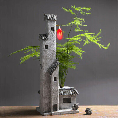 Garden Planter Flower Pot Decorative Bonsai Zen Antique with LED  Chinese House