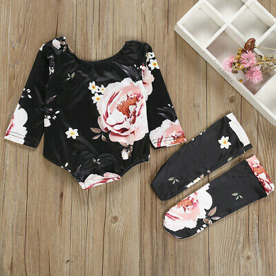 2PCS Baby Newborn Girl Floral Romper+Stockings Set Bodysuit Clothes Outfit