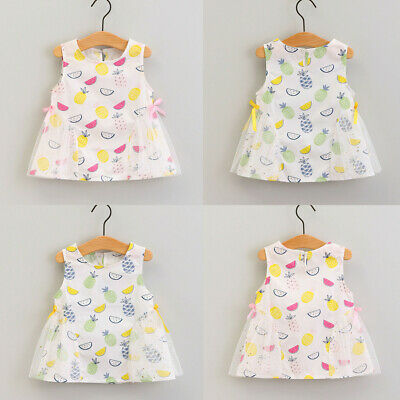 Toddler Baby Kids Girls Sleeveless Fruit Print Patchwork Tulle Bow Dresses