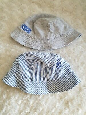 Baby Boys 6-12mths blue and grey Sun Hat Bundle of 2 summer holiday