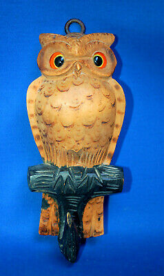A antique owl bird hook, Black Forest, Victorian,carved, wooden, glass eyes