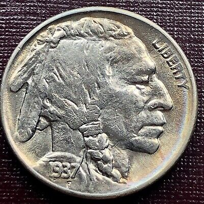1937 S Buffalo Nickel 5c High Grade UNC Rare Strong Details Toned #17967