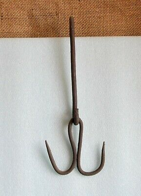 ANTIQUE OLD Hand FORGED IRON Butcher`s Meat Double Hook Hanger