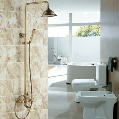 Antique Brass Round Rain Shower Faucet Tub Mixer Tap Dual Cross Handles Zrs123