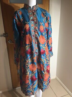 Hand Embroidered Jacket/dress Blue Raw Silk Size L