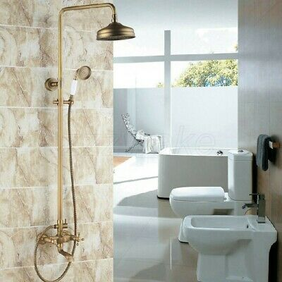 Antique Brass Wall Mounted Cross Handle Rain Shower Faucet Tub Mixer Tap Zrs126