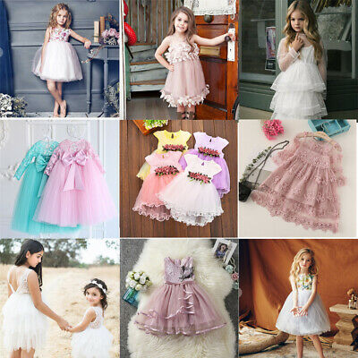 AU Kid Baby Flower Girl  Party Lace Dress Wedding Bridesmaid Dresses Princess