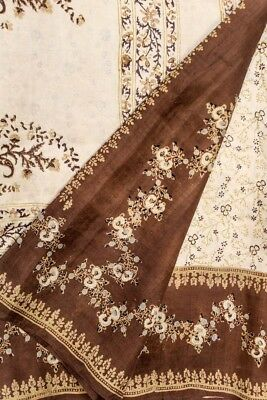 Vintage Antique Ethnic Saree 100% Pure Silk Saree Printed Brown Wrap PSS6747