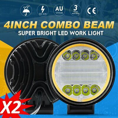 Pair 4inch LED Driving Lights Work Spot Flood Combo Cree Round Offroad 4WD UTE