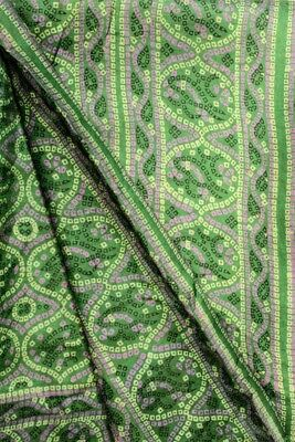 Vintage Antique Ethnic Saree 100% Pure Silk Saree Printed Green Wrap PSS6778