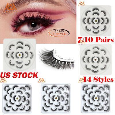 0c37ddbb2a7 14 Style 10 Pairs 3D 25mm Mink Natural False Eyelashes Lashes Thick Wispy  Fluffy