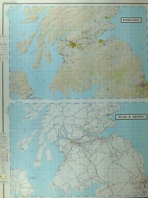 Vintage Large Map Southern Scotland Population Roads & Airports