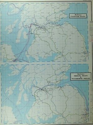 Vintage Large Map Southern Scotland Railways Passenger Trains Freight Waterborne