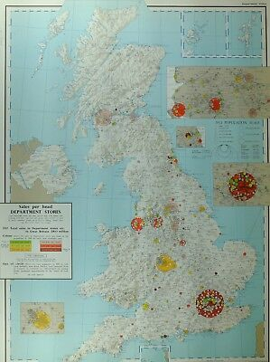 VINTAGE LARGE MAP of BRITAIN SALES PER HEAD DEPARTMENT STORES LONDON LIVERPOOL