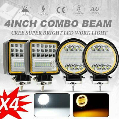 4X 4inch LED Driving Lights Work Spot Flood Combo Amber CREE Offroad 4WD Car 12V