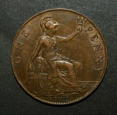 1912H Penny. Heaton Mint George V British Bronze Coin.