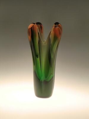 Tall Heavy Vintage Retro Glass Vase Green Amber Skrdlovice Beranek Czech MCM
