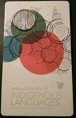 2019 Australia Carded UNC 50c Coin - International Year of Indigenous Languages