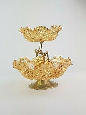 Vintage Art Deco Sowerby Carnival Glass 2 Tier English Hob and Button Nude Stand