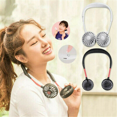 Summer 3 Speeds Portable Dual Fan Lazy Neck Band Hanging USB Rechargeable Sports