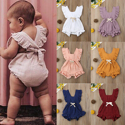 Newborn Baby Girl Ruffle Jumpsuit Romper Bodysuit Sunsuit Outfit Clothes FJP