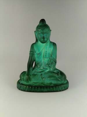 Art Deco Malachite Jade Glass Statue Buddha Sculpture Figurine Bohemian 1930s