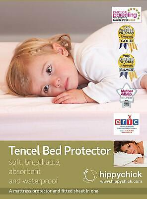 Hippychick Tencel Fitted Mattress Protector waterproof 60 x 120 cm  Cot White