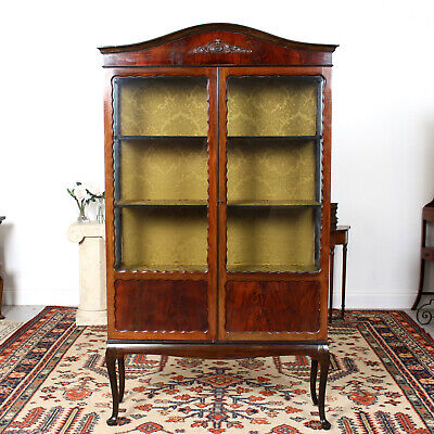 Antique Glazed Bookcase Victorian Mahogany Tall Display Cabinet 19th Century