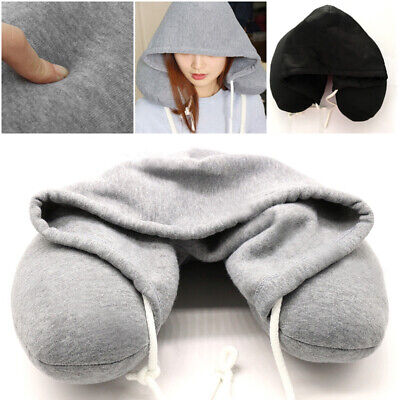 Adults Hooded Travel U Shape Neck Pillow, Hoody Home Car Flight Cushion Support